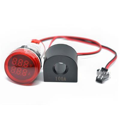 MINI VOLT-AMP DIGITAL D29MM 500VCA/100ACA ROJO